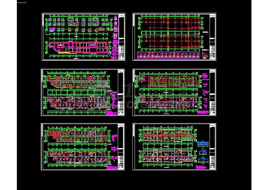 地上四层框架结构办公楼结构cad施工图(坡屋顶)-图1
