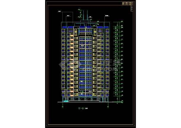 某小区高层住宅楼建筑设计cad全套方案图-图1