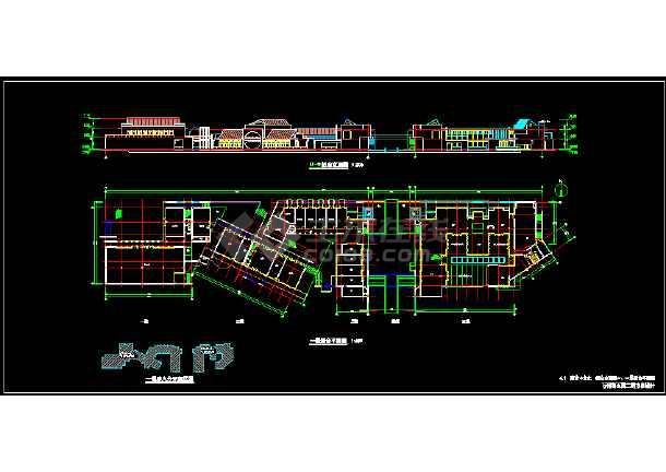 两层仿古商业楼建筑施工图纸-图1
