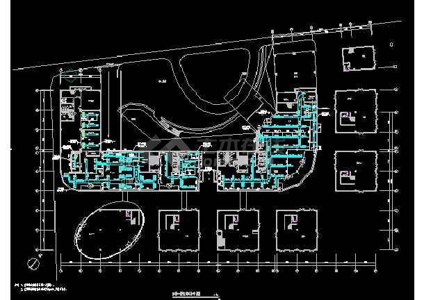 国际五星级宾馆暖通cad平面施工设计图-图2