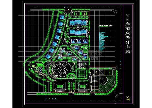 某地景观园林酒店CAD规划设计方案图纸-图1