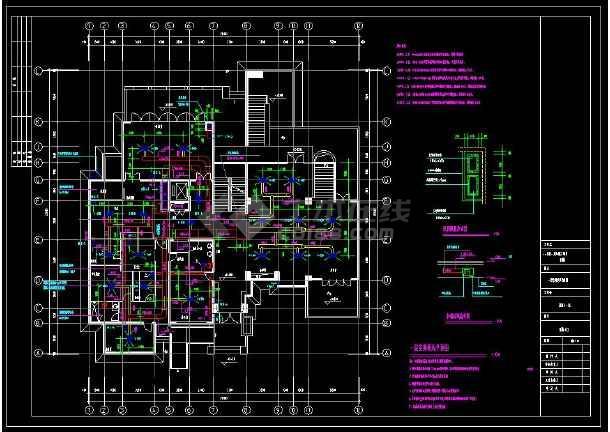 某小区多层别墅建筑暖通空调设计cad施工图(含设计说明)-图3