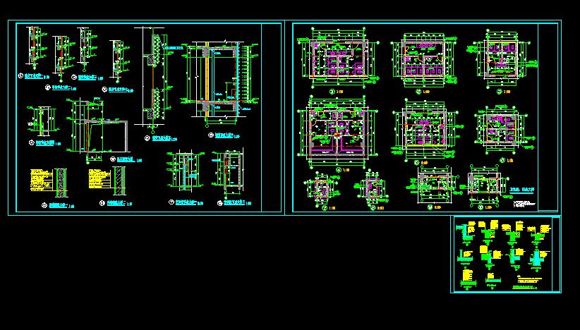 室内装修常用建筑墙身及卫生间大样cad详细施工方案图片1