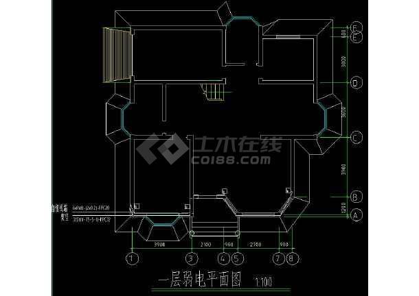 某住宅区多层小别墅建筑电气设计cad施工图-图3