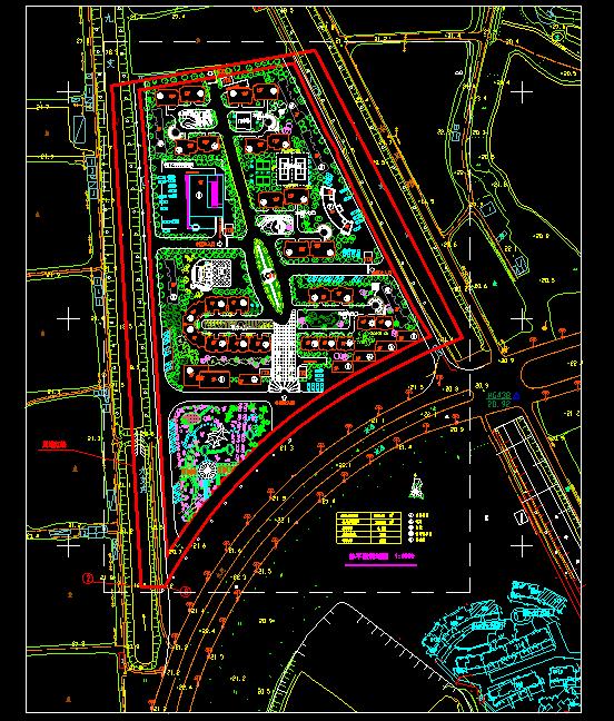 小型居住社区规划及景观绿化CA施工图图片1