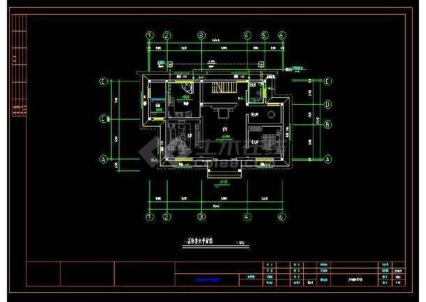 某地多层小别墅建筑给排水及电气设计cad施工图(含设计说明)-图1