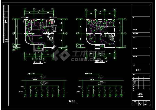 某地多层精品别墅建筑电气设计cad施工图(含设计说明)-图1
