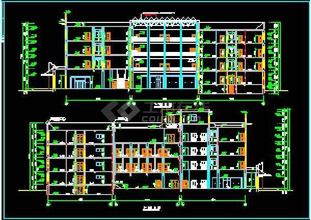 某大型宾馆洗浴部建筑CAD设计施工立面图-图1