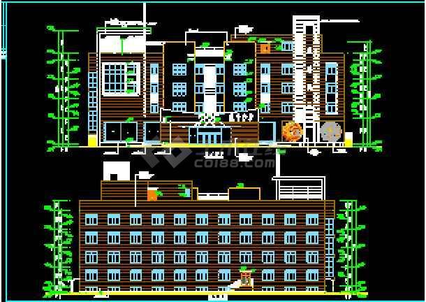 某大型宾馆洗浴部建筑CAD设计施工立面图-图2