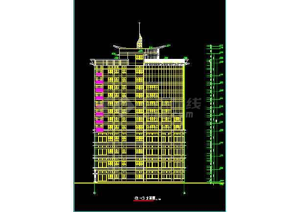 某酒店大厦建筑CAD设计施工平立面图纸-图1