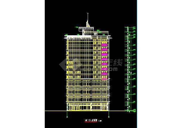 某酒店大厦建筑CAD设计施工平立面图纸-图2