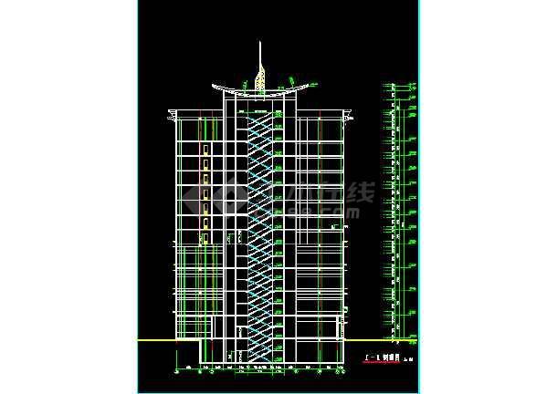 某酒店大厦建筑CAD设计施工平立面图纸-图3