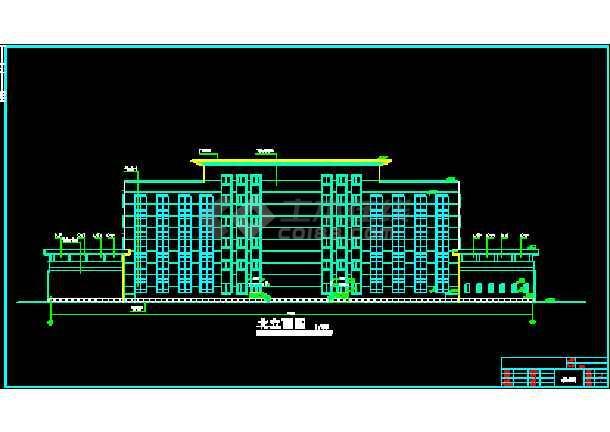 某市综合办公楼建筑CAD设计施工平立面图纸-图2