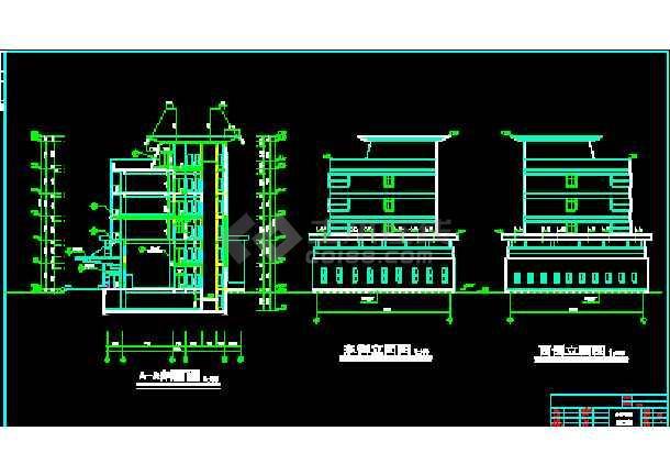 某市综合办公楼建筑CAD设计施工平立面图纸-图3