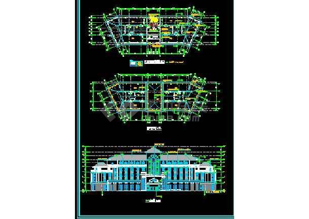 某大型宾馆方案建筑CAD施工设计平立面图纸-图1