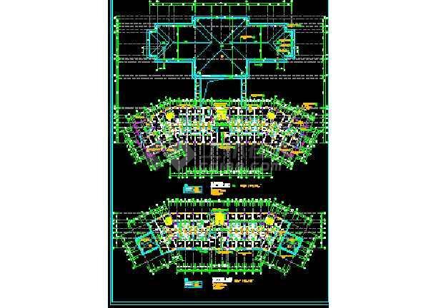 某大型宾馆方案建筑CAD施工设计平立面图纸-图2