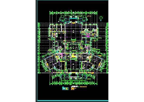 某大型宾馆方案建筑CAD施工设计平立面图纸-图3