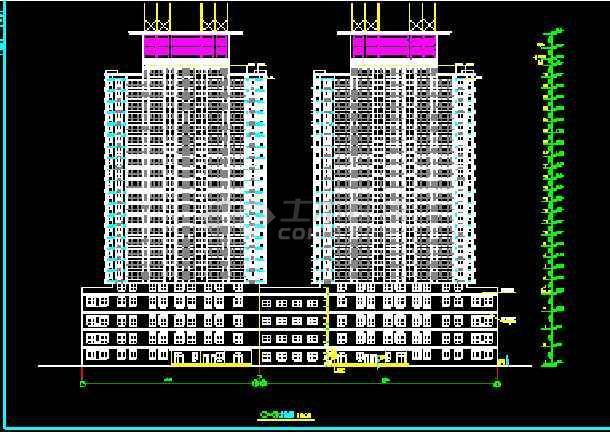 陈家庄商住楼建筑CAD设计施工平立面图纸-图1