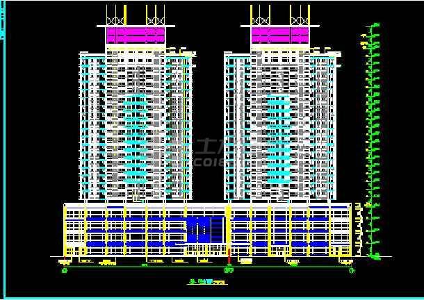 陈家庄商住楼建筑CAD设计施工平立面图纸-图2