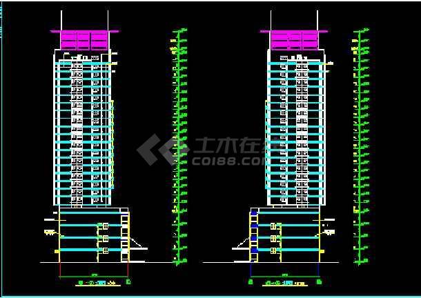 陈家庄商住楼建筑CAD设计施工平立面图纸-图3