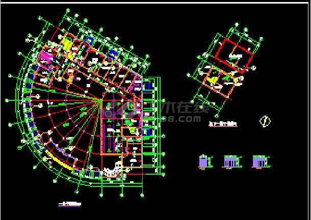 某新酒店建筑CAD施工设计平立面图纸-图3