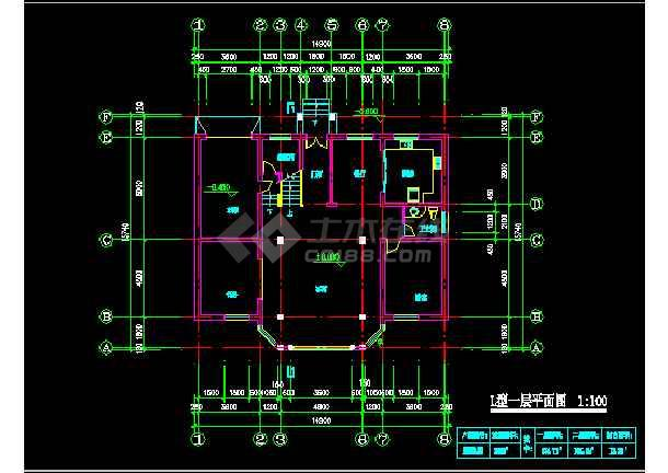 一套农庄L型别墅建筑施工图纸(共7张)-图1