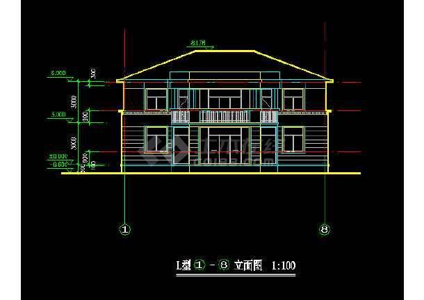 一套农庄L型别墅建筑施工图纸(共7张)-图3