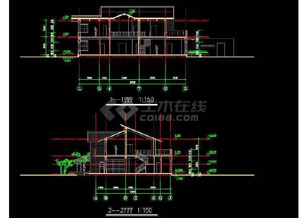 二层独栋别墅建筑施工图纸(共6张)-图2