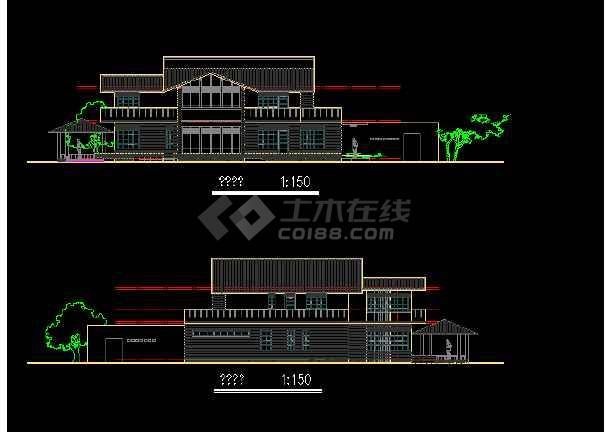 二层独栋别墅建筑施工图纸(共6张)-图3