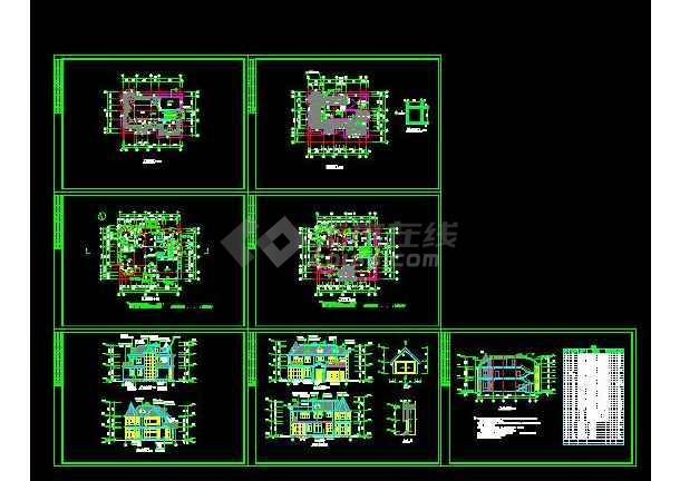 某地别墅建筑结构施工图(带效果图)-图1