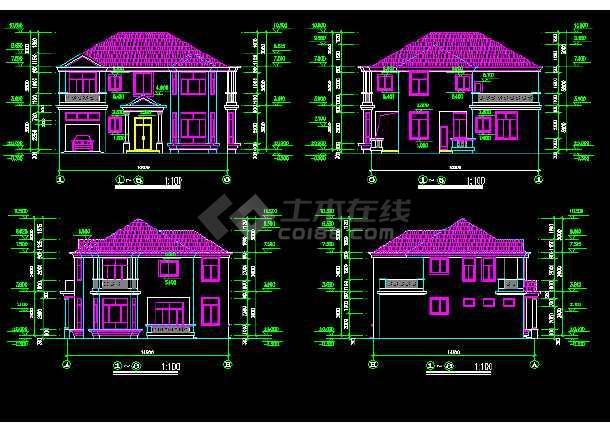 一套现代别墅建筑图纸(共15张)-图1