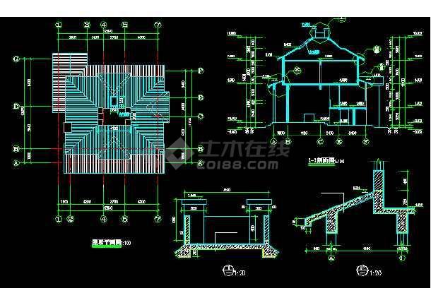 一套详细的豪华花园别墅建筑施工图纸-图2