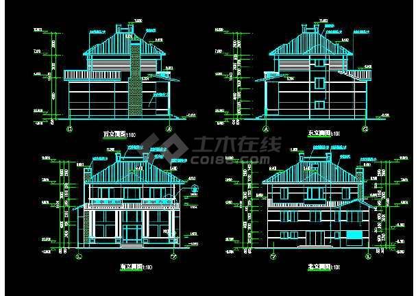 一套详细的豪华花园别墅建筑施工图纸-图3