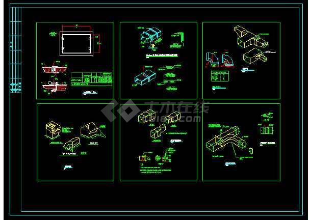 全套风管_风口_管件_阀门暖通安装CAD节点详图-图2