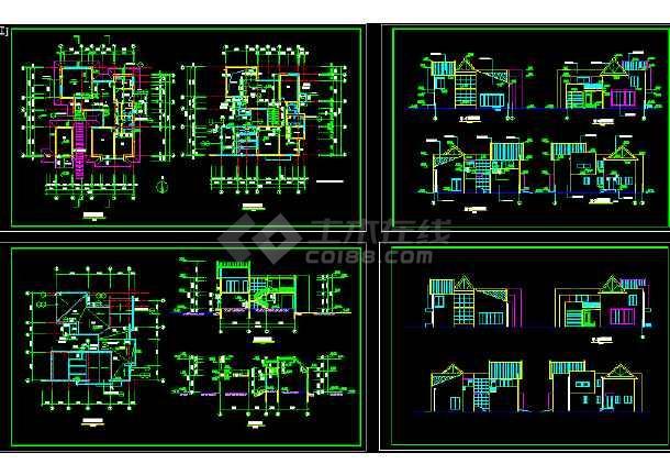 四套多层独栋别墅建筑施工图纸整合-图1