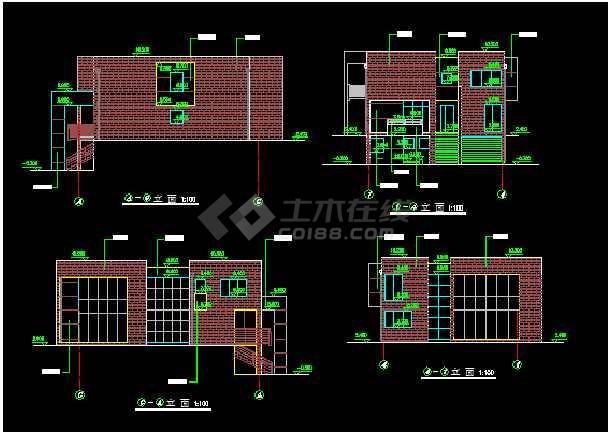 四套多层独栋别墅建筑施工图纸整合-图3