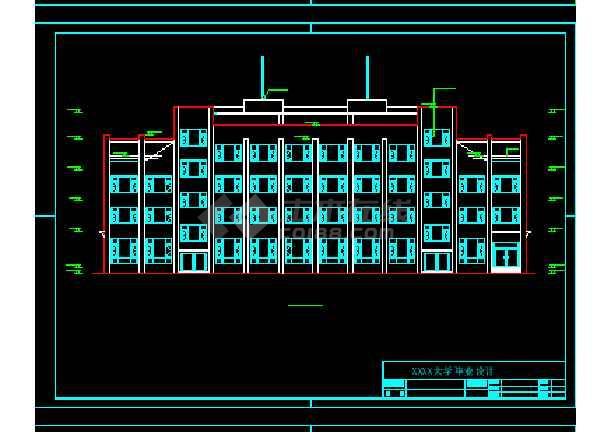某地四层框架办公楼建筑结构CAD图纸-图1