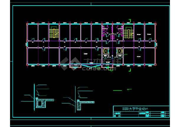 某地四层框架办公楼建筑结构CAD图纸-图3