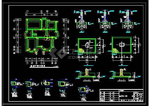 某地多层别墅建筑cad结构施工图带效果-图1