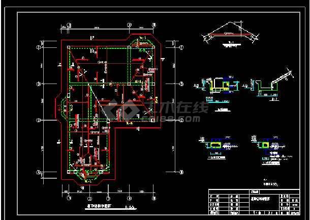 某地多层别墅建筑cad结构设计施工图带效果图-图2
