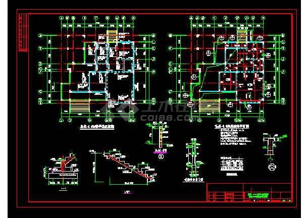 某实用自建别墅cad结构设计施工图-图1