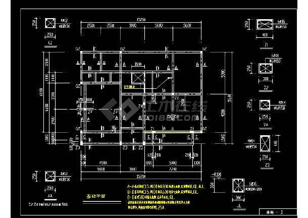 某精致别墅cad建筑及结构全套施工图-图3