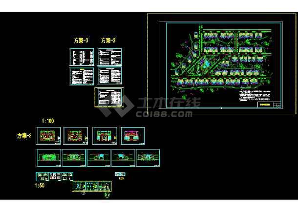 某经典双拼别墅cad建筑、结构、给排水、电气施工图-图2