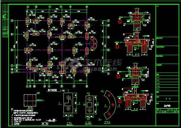 某三层别墅建筑cad全套结构施工图-图1