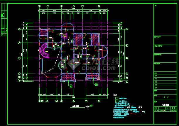 某三层别墅建筑cad全套结构施工图-图2