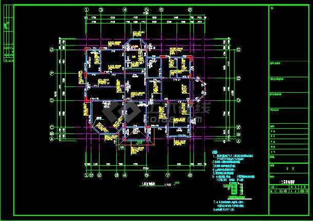 某三层别墅建筑cad全套结构施工图-图3