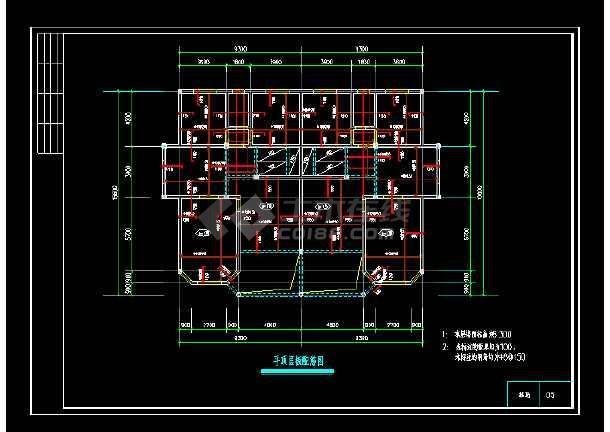 一套联体别墅建筑cad结构设计图-图1