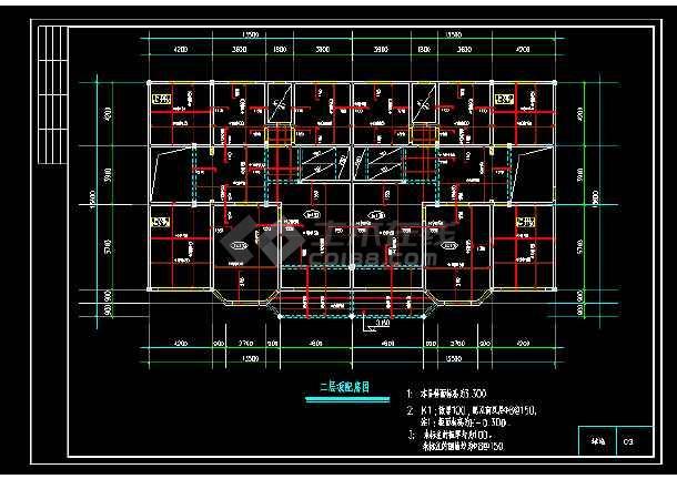 一套联体别墅建筑cad结构设计图-图2