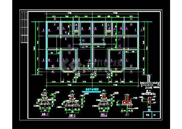 一套联体别墅建筑cad结构设计图-图3