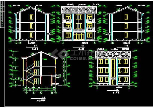 某地方农村别墅建筑图施工CAD图纸-图3
